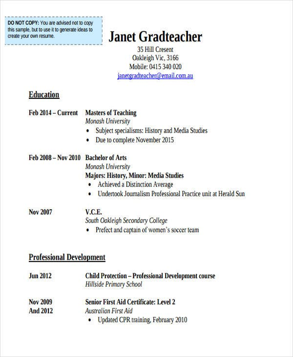 education teacher resume sample