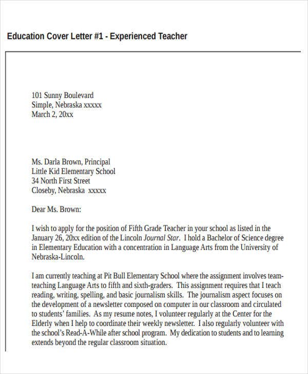 education teacher resume cover letter