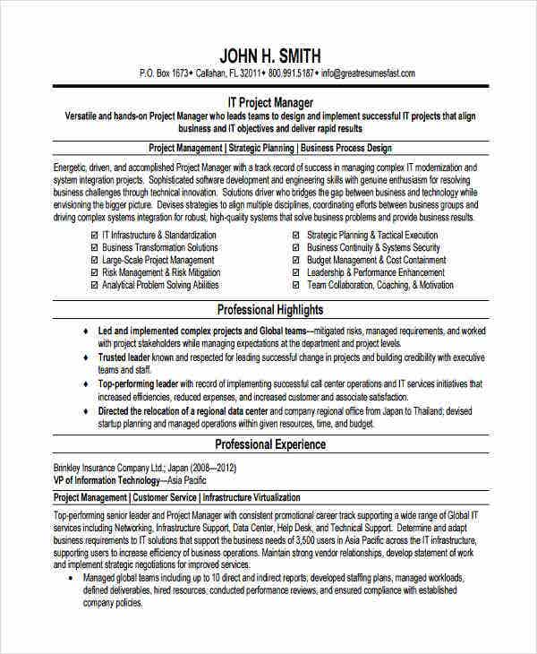 it project manager resume4
