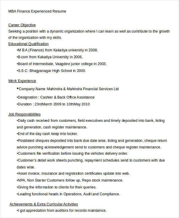 sample job application letter for mba fresher in resume format 25