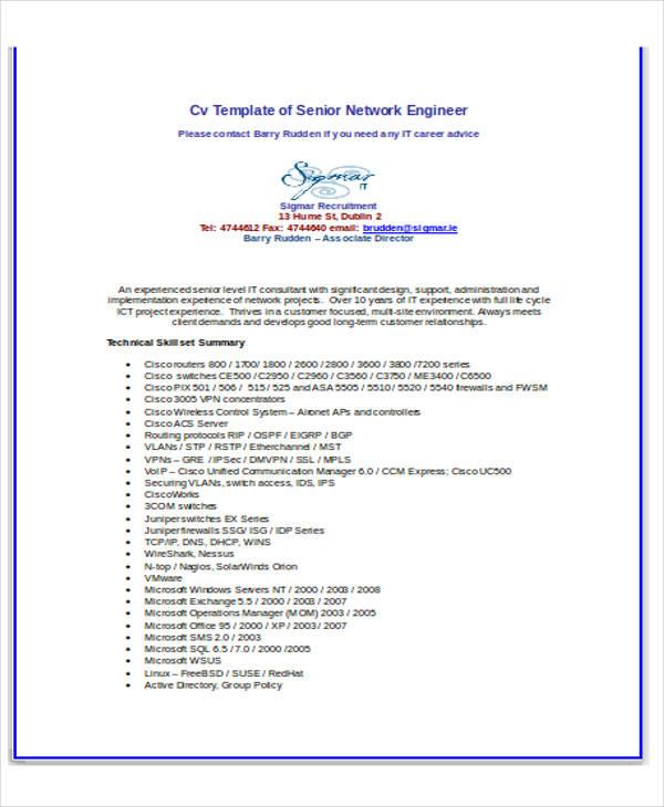 it networking engineer resume1