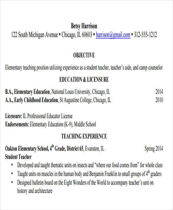 Elementary School Education Resume