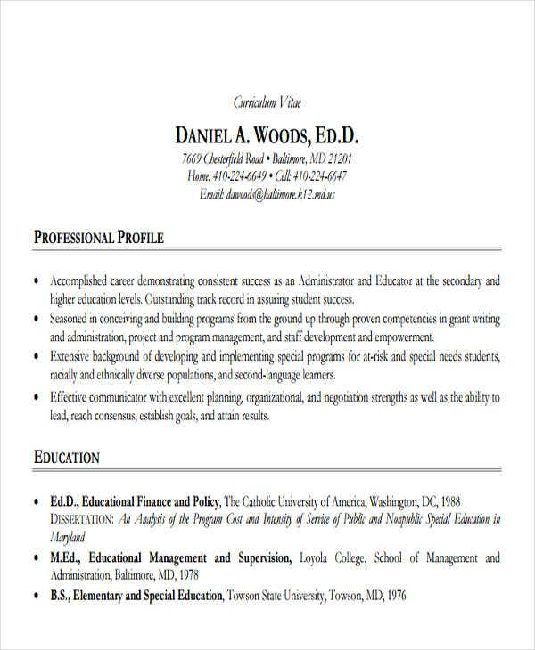 sample professional education resume