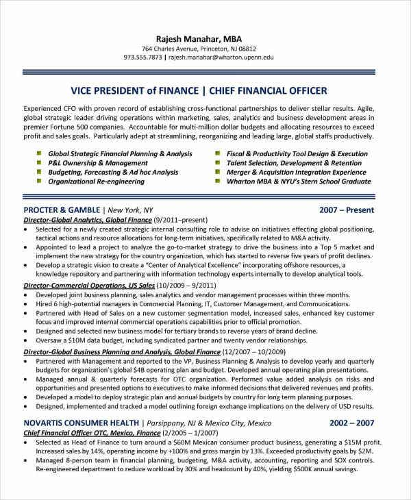 chief finance officer resume2