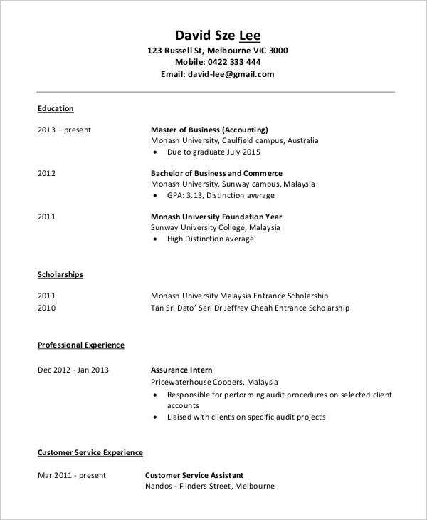 accountant resume in pdf