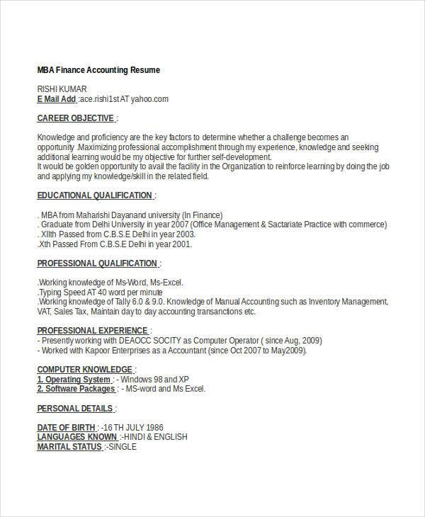 40 Basic Finance Resume Templates PDF DOC Free Premium Templates