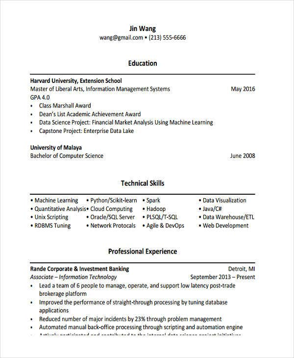 it associate project manager - Machine Learning Resume
