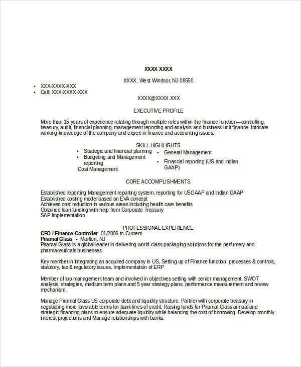 finance resume examples 28 word pdf documents download