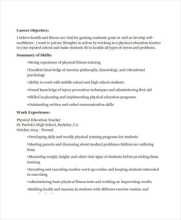 physical education resume sample