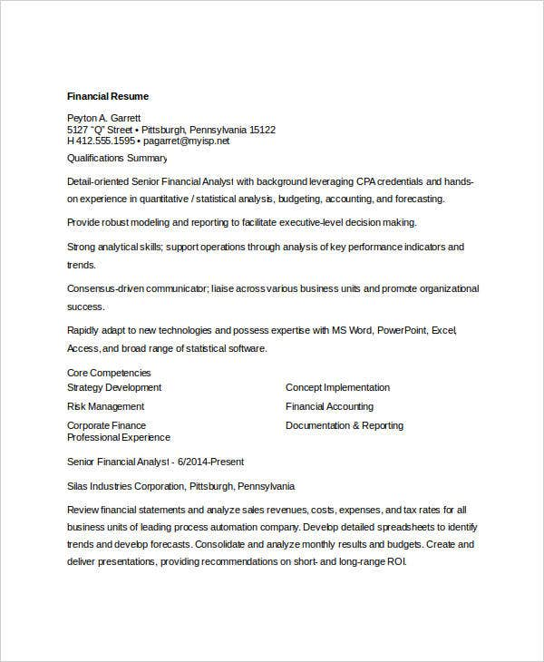 free financial resume monstercom details file format