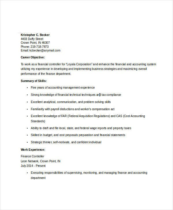 Samplebusinessresume Finance Manager Resume Template Extraordinary