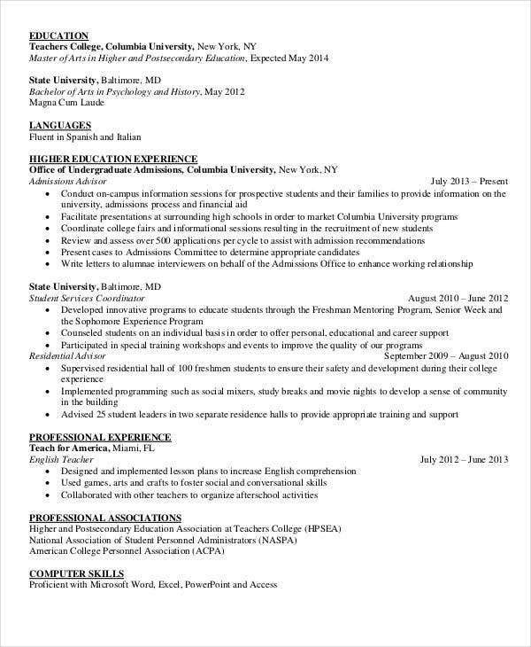 Higher Education Resume Sample