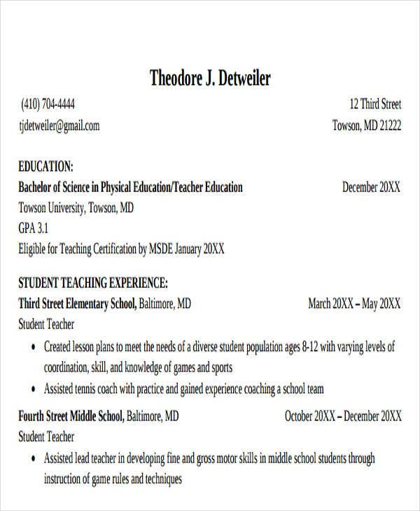 Physical Education Teacher Resume  Physical Education Resume