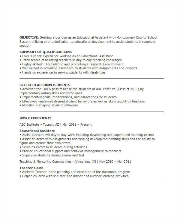 education assistant resume sample