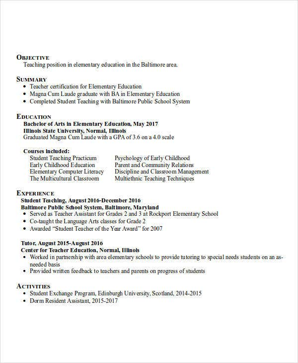 professional education resume samples free education resume sample collegegradcom