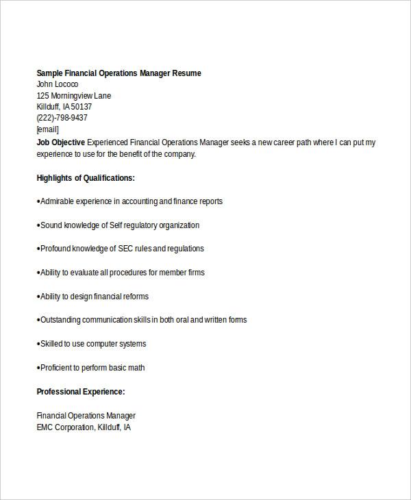 basic finance resume 47 free word pdf documents