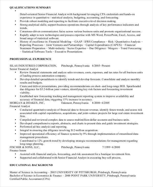 40  basic finance resume templates