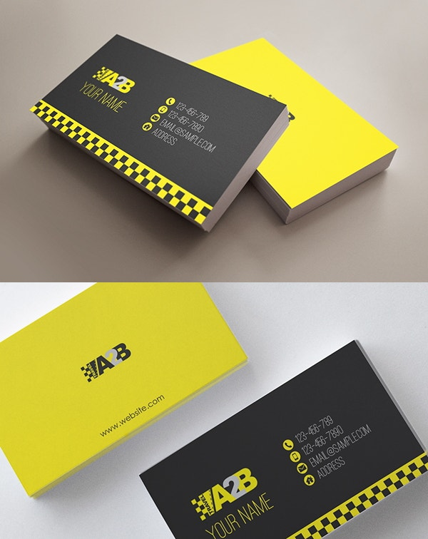 12 taxi business card templates free premium templates editable automotive business card template reheart Gallery