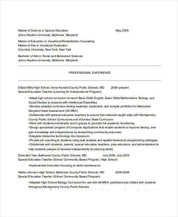 special education resume example1