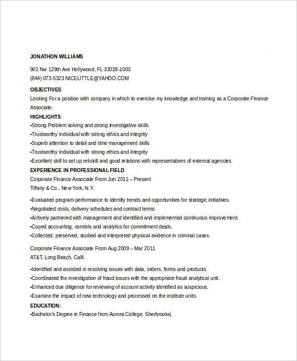 corporate finance associate resume3
