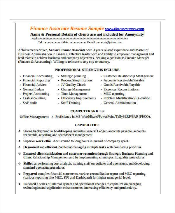 finance resume examples 28 word pdf documents download free