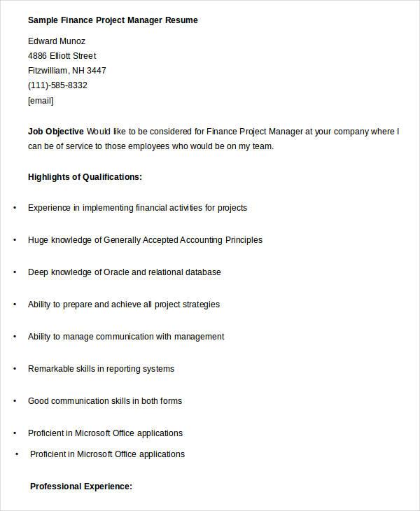 23  finance resume templates