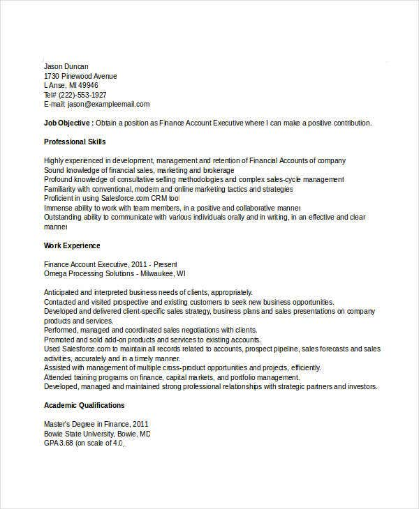 finance account executive resume3