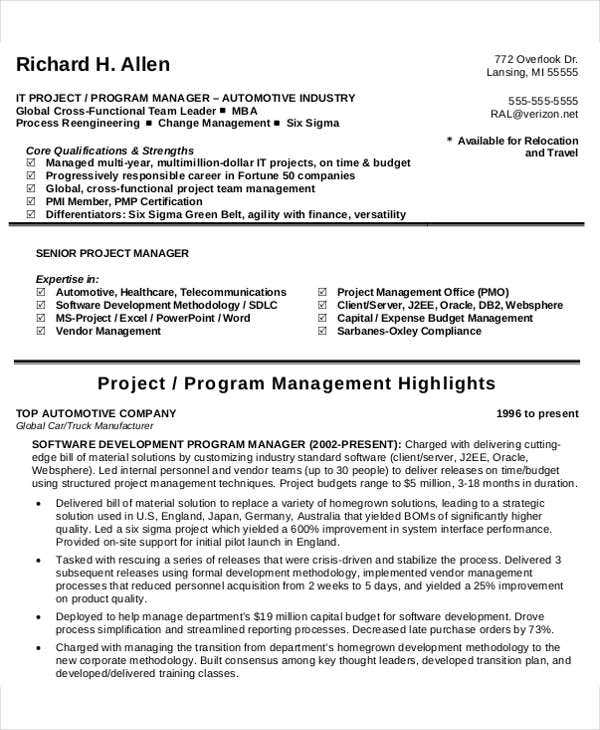 it program manager resume4