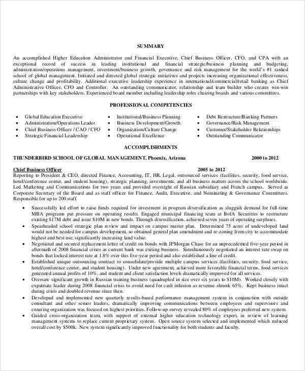 higher education executive resume2