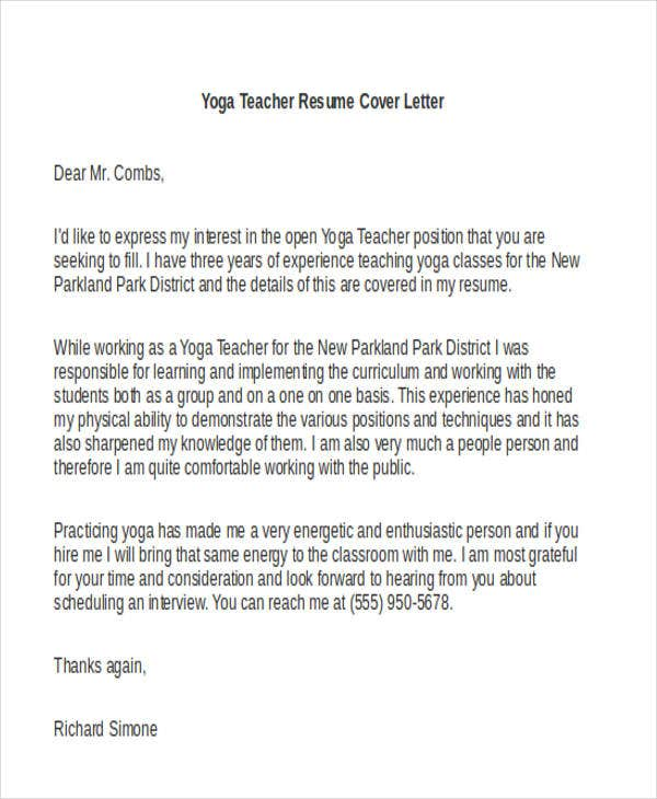 yoga teacher cover letter