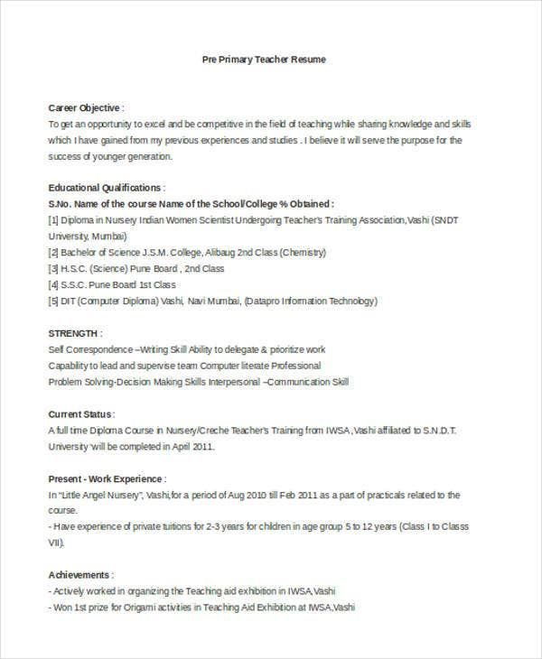 primary teacher resume example pre primary teacher - Resume Example For Teachers