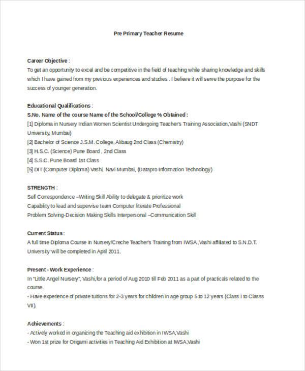 Resume For Teachers In Indian School