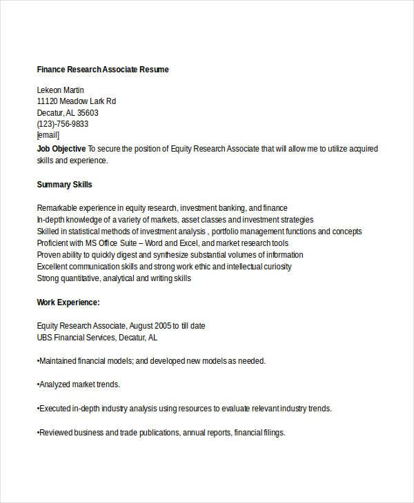 Financial Research Associate Cover Letter