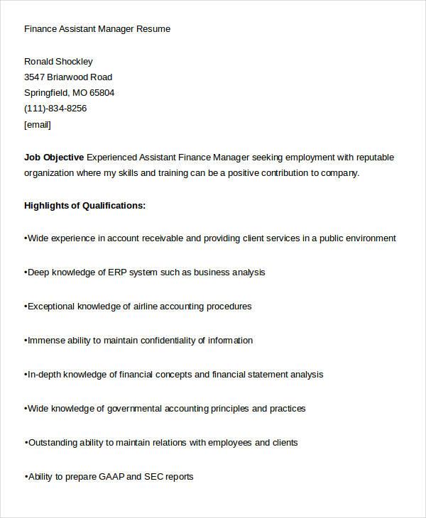 finance assistant manager resume4