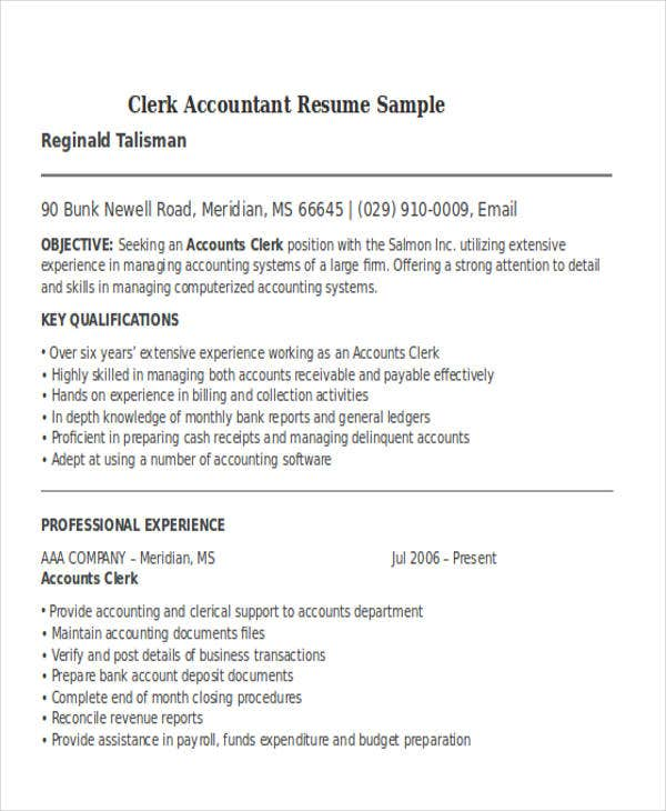 Accounting Resume Template General Accountant Resume Template