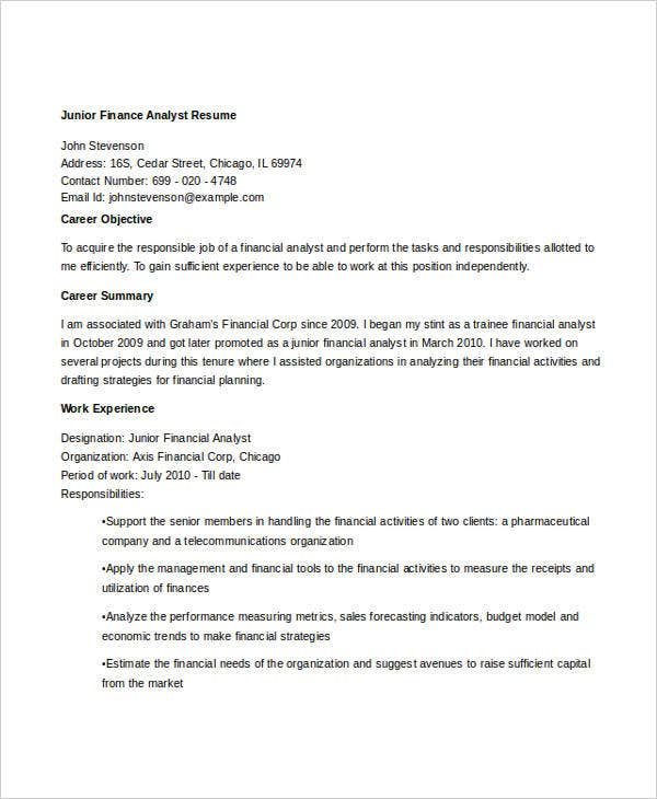junior finance analyst resume bestsampleresumecom - Junior Financial Analyst Resume
