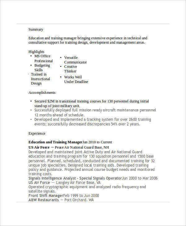 19  professional education resumes