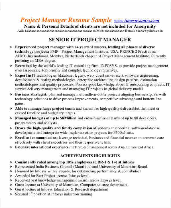 senior project manager resume resume 28 images amazing
