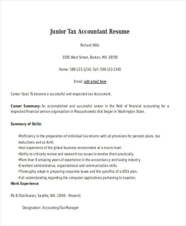 junior tax accountant