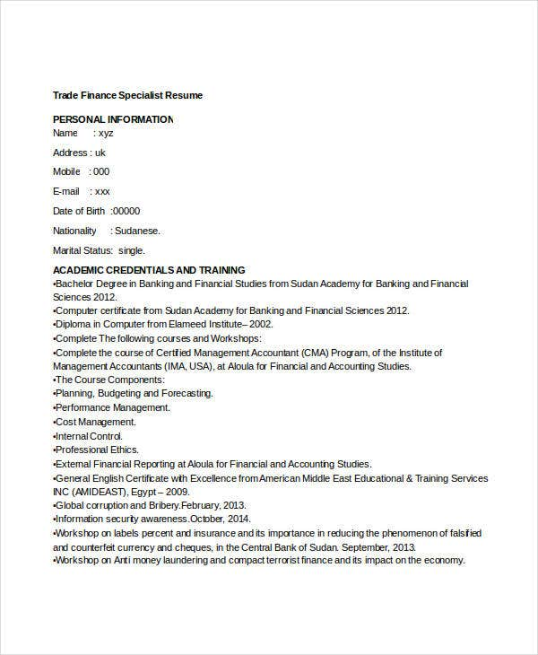 international trade specialist resume sample