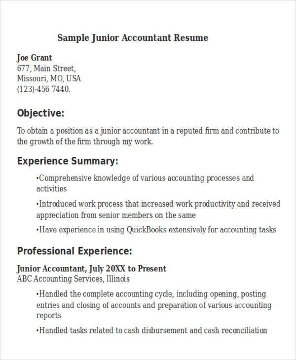 24 Accountant Resume Templates Download – Accountant Resumes