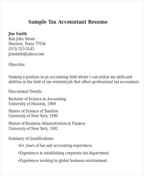 sample tax accountant tax accountant resume sample