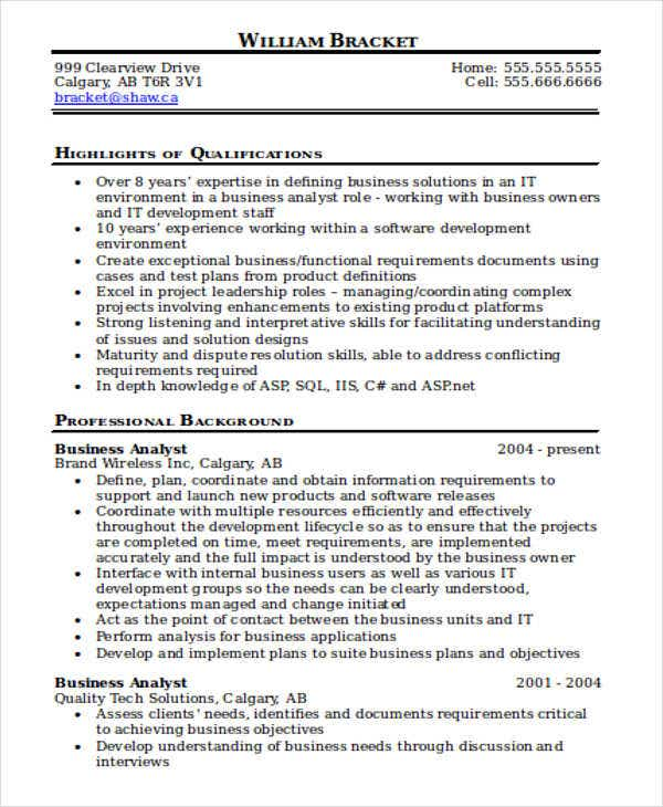 business analyst it resume sample