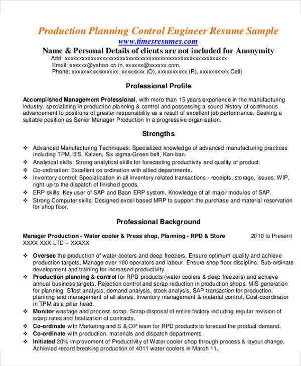 production manager sample - Production Manager Resume Samples