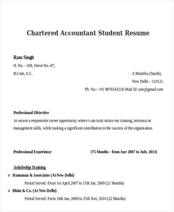 Chartered Accountant Student. Resume Formats.blogspot.in  Accounting Student Resume