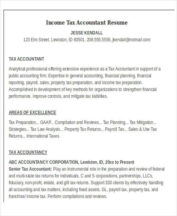 Income Tax Accountant  Property Accountant Resume