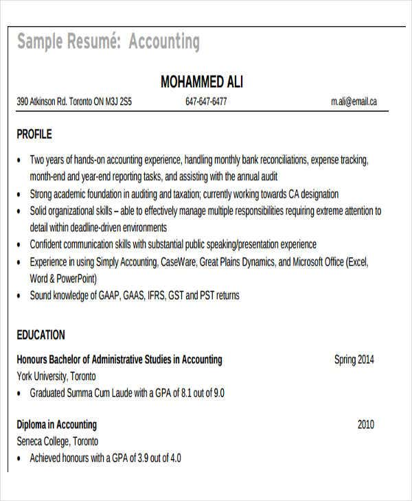 accounting student resume