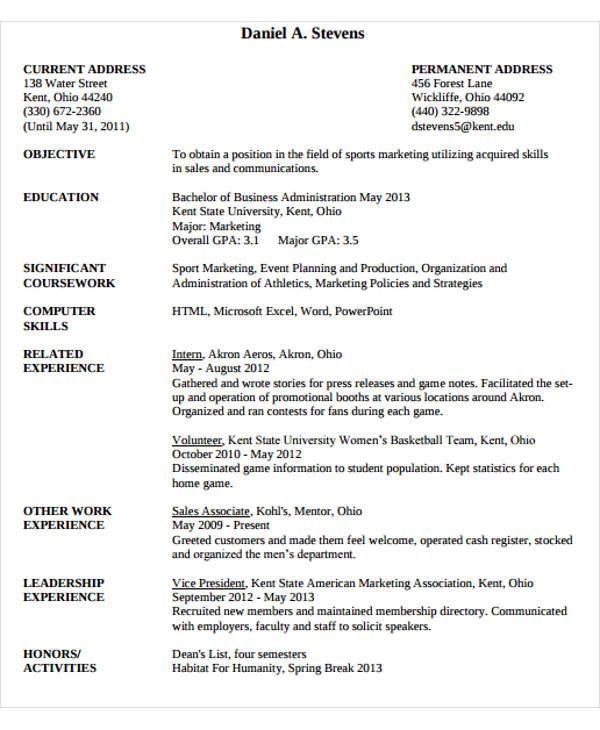 business administration marketing resume