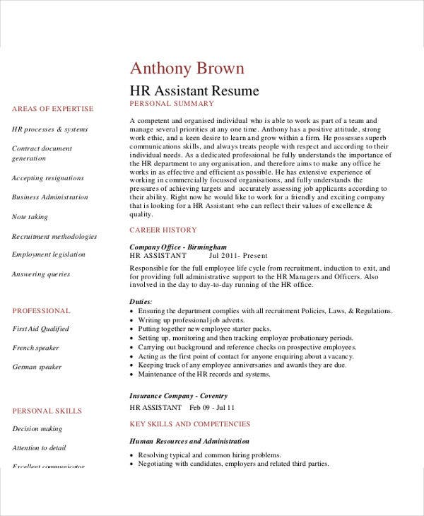 assistant hr manager resume1