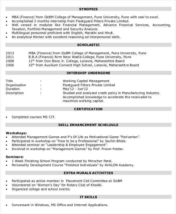 corporate finance resume format